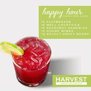 Spring Happy Hour at Harvest Seasonal Grill & Wine Bar