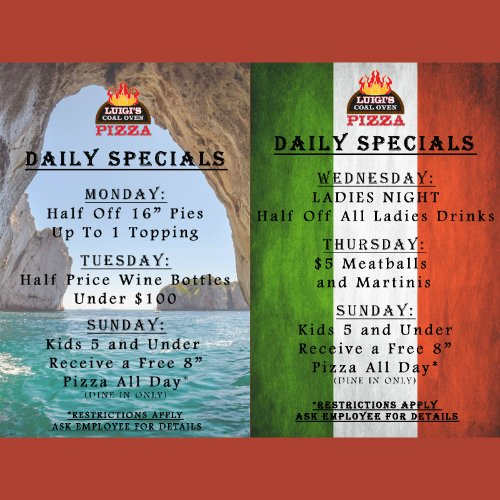 Daily Specials - Luigi's Coal Oven Pizza Delray