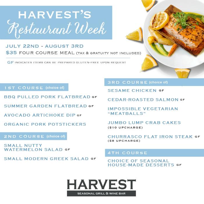 Harvest Seasonal Grill & Wine Bar Restaurant Week