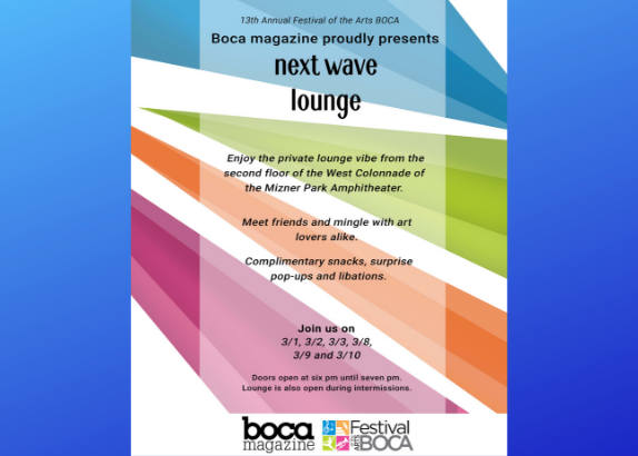 New at Festival of the Arts BOCA, Next Wave Lounge for Young Professionals